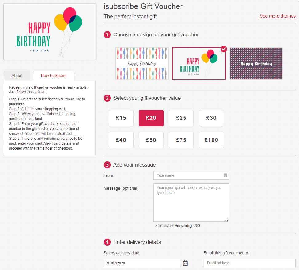 isubscribe magazine gift vouchers