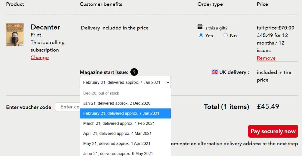 magazine gift subscription