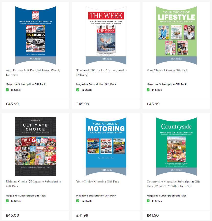 WH Smith magazine subscription gift packs